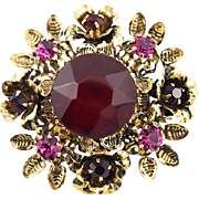 Vintage Austrian Brooch With Ruby Red and Fuchsia Stones