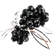 Outstanding Dimensional Beaded Vintage Crystal Flower Brooch