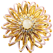 Big Dimensional Vintage Flower Brooch With Crystal, Rose Quartz, and Pink Enamel