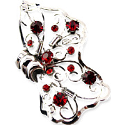 Sterling Silver Bond Boyd Butterfly Brooch With Red Crystals