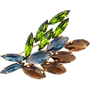 Earthy Colored Vintage Crystal Brooch in Blue, Brown, and Green