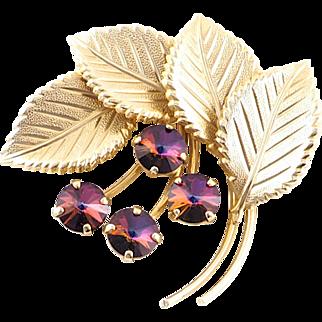 Vintage Leaf Brooch With Swarovski Rivoli Crystals