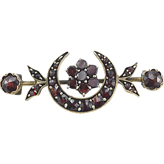 Victorian Garnet Brooch Pin - Garnet Jewelry - January Birthstone - Victorian Jewelry - Crescent Moon - Sentimental Jewelry - New Beginnings