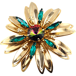 Dimensional Vintage Flower Brooch With Watermelon Rivoli Crystal