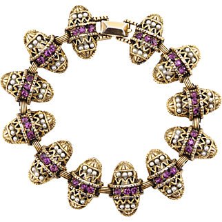 Intricate Vintage Bracelet With Decorated Egg Links in Crystal and Faux Pearl