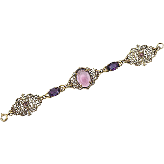 Delicate Antique Stamped Filigree Bracelet With Amethyst Glass Stones