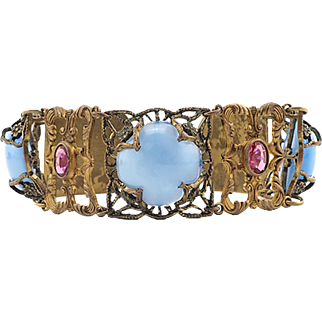 Vintage Brass Link Bracelet With Blue Moonglow Stones and Pink Rhinestones for Bigger Wrists