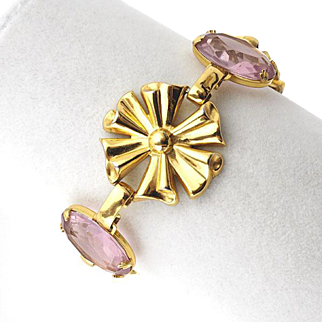 Pretty Gold Tone Vintage Flower Bracelet With Big Pink Stones