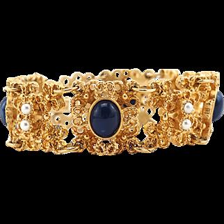 Vintage Unworn Sarah Coventry Link Bracelet With Faux Lapiz and Pearl