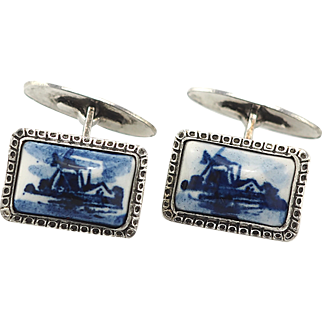 Vintage Delft Sterling Silver Cufflinks With Windmill in Textured Frames