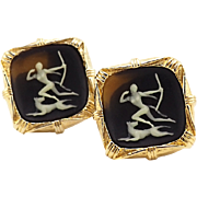 Vintage Incolay Cufflinks Featuring Artemis or Diana Greek Mythology