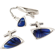 Hickock Mid-Century Modern Space Age Vintage Cufflinks and Tie Tack Set With Blue Art Glass