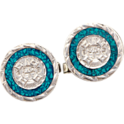 Vintage Sterling Silver Cufflinks With Aztec Sun God and Turquoise Chip Inlay