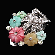 Vintage Crystal Dress Clip with Pastel Glass Flowers