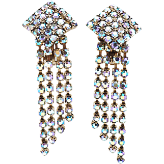 Glamorous Old Hollywood Style Vintage Aurora Borealis Crystal Fringe Earrings
