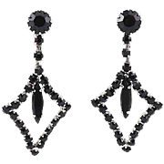 Vintage Black Rhinestone Drop Earrings Diamond Shape