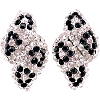 Vintage 1980s Panther Earrings With Black and Clear Crystals