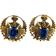 Vintage Heraldic Earrings With Royal Blue Crystals, Crowns, Swords, and Eagles