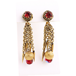 Vintage Red Crystal Earrings With Textured Chains and Dangles