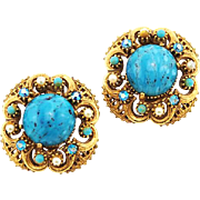 Vintage Florenza Earrings in Turquoise and Gold Tone
