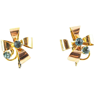 1940s Vintage Bow Earrings With Yellow and Rose Gold Vermeil