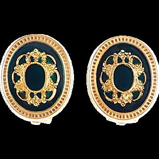 Rich Royal Green Vintage 1980s Earrings