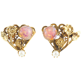 Faux Opal Romantic Vintage Earrings With Pink Foil Glass