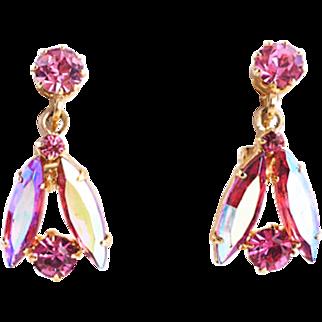 Vintage Pink Crystal Earrings With Dangles
