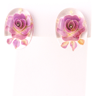 Vintage Lucite Earrings With Reverse Carved Roses