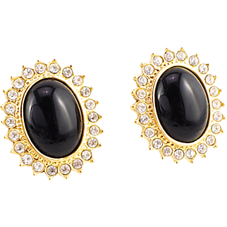 Classic Earrings With Black Stones and Crystals by Butler