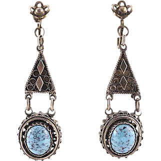 Vintage Silver and Turquoise Ethnic Drop Earrings