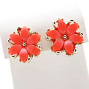 Vintage Mid-Century Coral Thermoset Flower Earrings