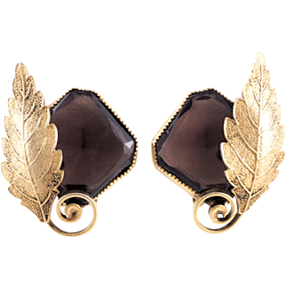 Earthy Vintage Leaf Earrings With Large Glass Stones