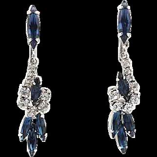 Vintage Long Rhinestone Drop Earrings in Royal Blue