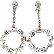 Big Glitzy Vintage Rhinestone Drop Earrings Emerald Cut Crystals