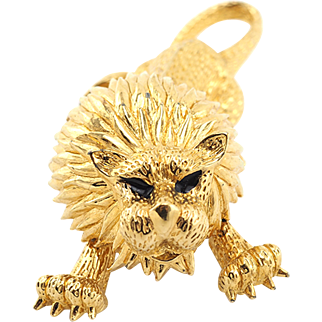 Powerful Vintage Lion Brooch By Jomaz