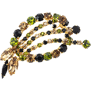 Earth-Toned Vintage Rhinestone Brooch In Green Topaz and Black