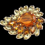 Vintage Orange Flame Crystal Rhinestone Brooch
