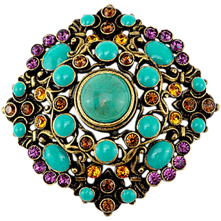 Antiqued Regal Vintage Joan Rivers Brooch With Faux Turquoise