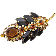 Vintage Juliana Brooch Leaf Shape With Topaz and Orange Crystals
