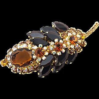 Vintage Juliana Brooch Leaf Shape With Topaz and Orange Crystals