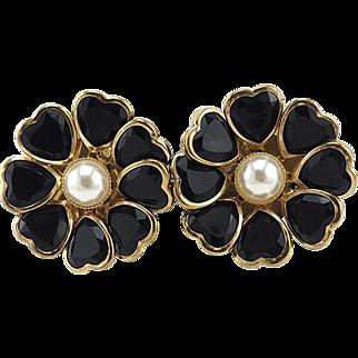 Big Vintage Flower Earrings With Heart Petals For Pierced Ears