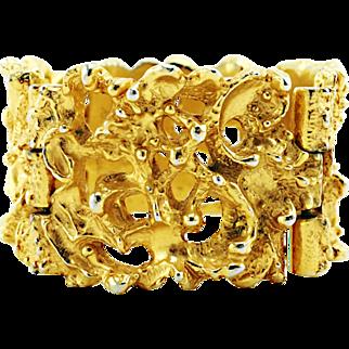 Vintage Robert Larin Bracelet Modernist Brutalist Lace Openwork Design in Gold