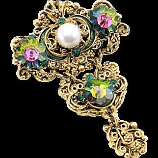 Vintage Victorian Revival Dangling Brooch With Margarita Crystals