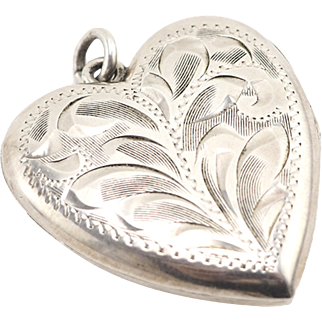 Big Vintage Etched Sterling Silver Heart Locket Pendant (Chain Available)