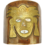 Mexican Copper, Brass and Abalone Mexican God or Warrior Cuff Bracelet