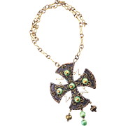 Vintage Casa Maya Necklace Byzantine Cross in Mixed Metals