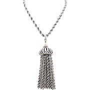 Vintage Long Monet Tassel Necklace in Silver