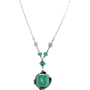 Vintage Rhodium Plated Art Deco Peking Glass Style Lavalier Necklace With Enamel