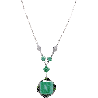 Vintage Rhodium Plated Art Deco Peking Glass Lavalier Necklace With Enamel